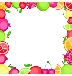 Colorful fruits frame vector