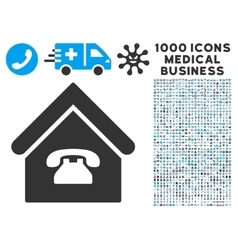 Phone station icon with 1000 medical business vector
