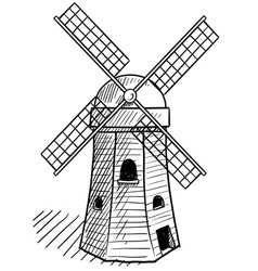 doodle windmill dutch vector image