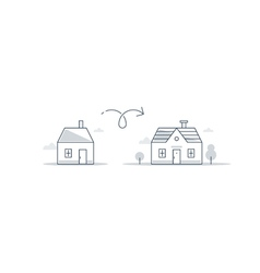 Bigger and smaller home difference concept vector