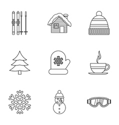 Weather winter icons set outline style vector image