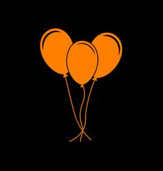 Balloons set sign orange icon on black background vector