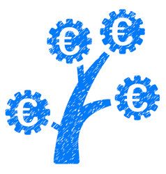 euro technology tree icon grunge watermark vector image