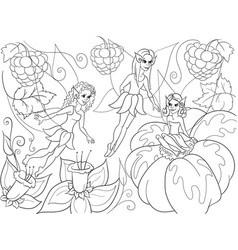 Fairy-tale world of fairies coloring book for vector
