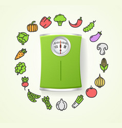Vegetables fresh food and floor scales health life vector
