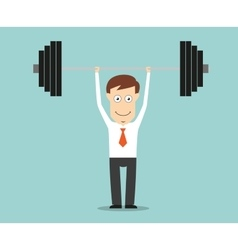 Confident businessman lifting a heavy barbell vector