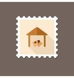 Pigsty flat stamp with long shadow vector