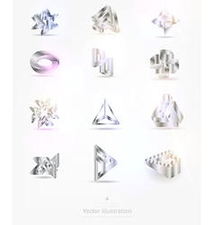 Abstract metal icons set vector