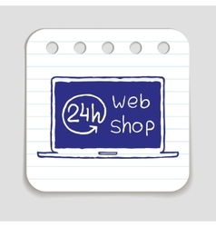 Doodle web shop icon vector