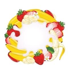 Yogurt splash isolated on strawberry and banana vector