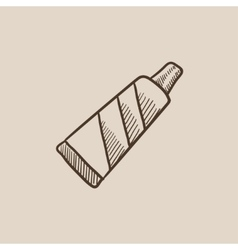 Tube of toothpaste sketch icon vector