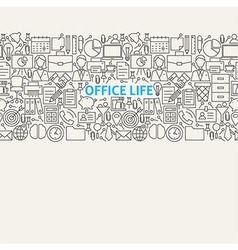 Business office life line art seamless web banner vector