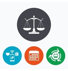 Scales of justice sign icon court of law symbol vector