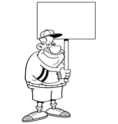 Cartoon coach holding a sign vector