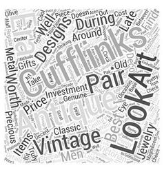 Antique cufflinks word cloud concept vector