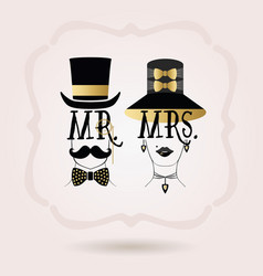 black and golden abstract mr male and mrs female vector image
