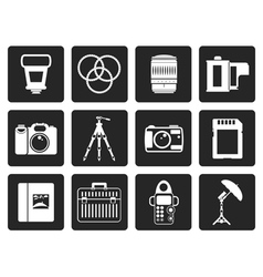 Black photography equipment icons vector