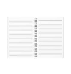 blank open notebook and horizontal line template vector image