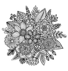 Bouquet of hand drawn flowers leaves in ornate vector