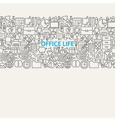 Business Office Life Line Art Seamless Web Banner vector image