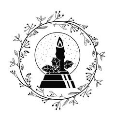 Candle of christmas season design vector