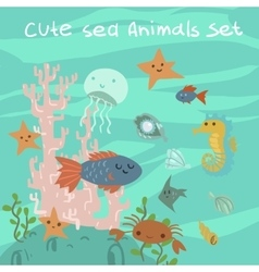 cartoon flat ocean stuff vector image vector image