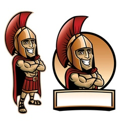 cartoon of spartan army pose and smiling vector image