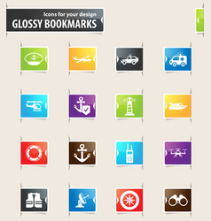 Coast guard icons set vector