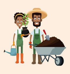 Couple farmers wheelbarrow water can and plant vector