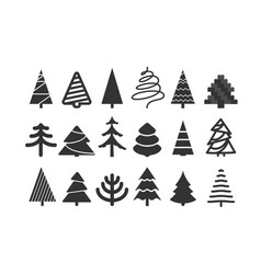 different christmas tree silhouettes isolated on vector image vector image
