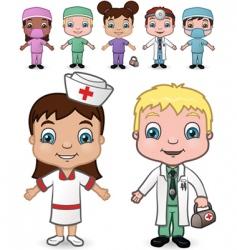 doctors and nurses set vector image