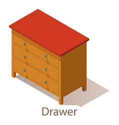 Drawer icon isometric style vector