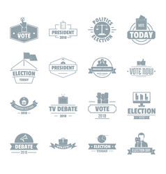 Election voting logo icons set simple style vector