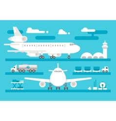 Flat design airport activity set vector image