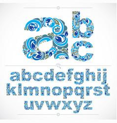 Floral alphabet sans serif letters drawn using vector