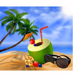 Fresh drinking coconut with a straw vector