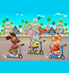 Funny pets are riding scootertoys in the town vector