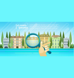 Hand holding magnifying glass over cartoon houses vector