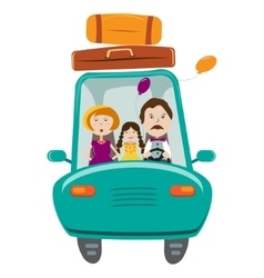 Happy family with daughter travelling by car vector image vector image