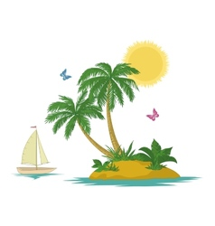 Island with palm and ship vector image