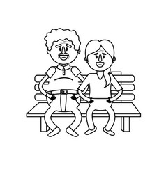 Line old couple in the chair with hairstyle vector