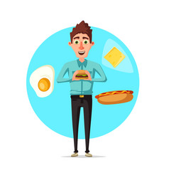 Man breakfast or fast food lunch flat icon vector