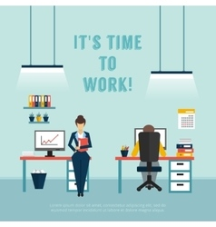 Office interior poster vector