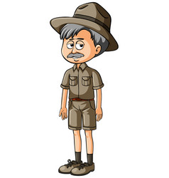 old man in safari outfit vector image vector image