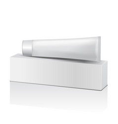 plastic tube and white box for medicine or vector image vector image