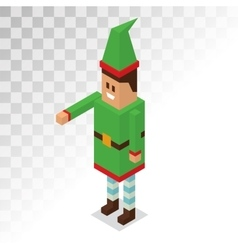 Santa claus boy helper cartoon elf 3d vector