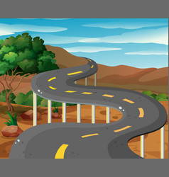 scene with road in the mountain vector image vector image