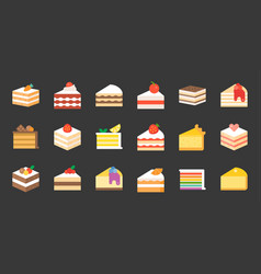 Set of cake flat icon vector