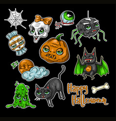 set of halloween element patches vector image