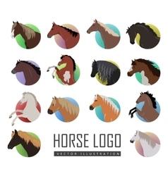 Set of horse logo flat style vector